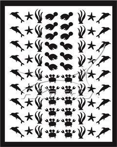 Samolepka pro nail art animal sea 01 černá