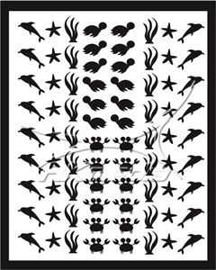 Samolepka pro nail art animal sea 01 černá AKmedia
