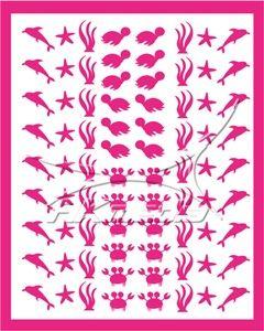 Samolepka pro nail art animal sea 01 pink AKmedia