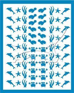Samolepka pro nail art animal sea 01 světlá modrá