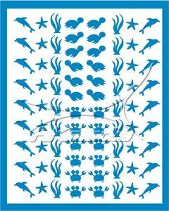 Samolepka pro nail art animal sea 01 světlá modrá AKmedia