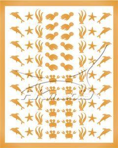 Samolepka pro nail art animal sea 01 zlatá