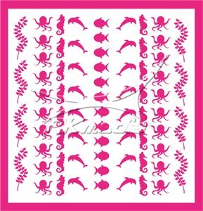 Samolepka pro nail art animal sea 04 pink AKmedia