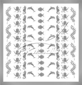 Samolepka pro nail art animal sea 04 stříbrná AKmedia
