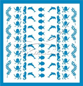 Samolepka pro nail art animal sea 04 světlá modrá AKmedia