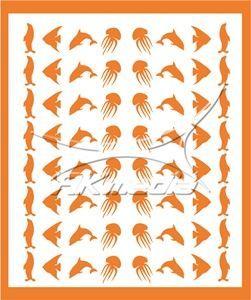 Samolepka pro nail art animal sea 05 oranžová