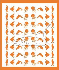Samolepka pro nail art animal sea 05 oranžová AKmedia