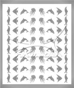 Samolepka pro nail art animal sea 05 stříbrná AKmedia