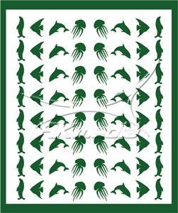 Samolepka pro nail art animal sea 05 zelená AKmedia