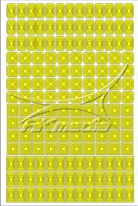 Samolepka pro nail art creativ čtverce žlutá AKmedia