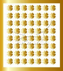 Samolepka pro nail art čtyřlístek zlatá