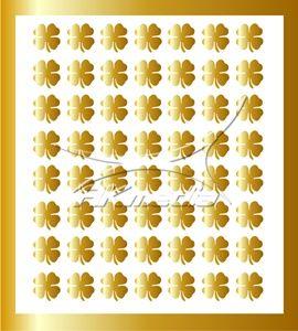 Samolepka pro nail art čtyřlístek zlatá AKmedia