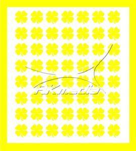 Samolepka pro nail art čtyřlístek žlutá