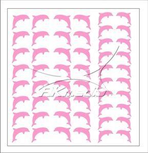 Samolepka pro nail art delfínci světlá růžová