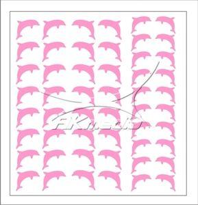 Samolepka pro nail art delfínci světlá růžová AKmedia