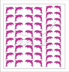 Samolepka pro nail art delfínci tmavá růžová