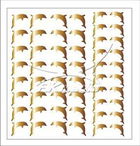 Samolepka pro nail art delfínci zlatá
