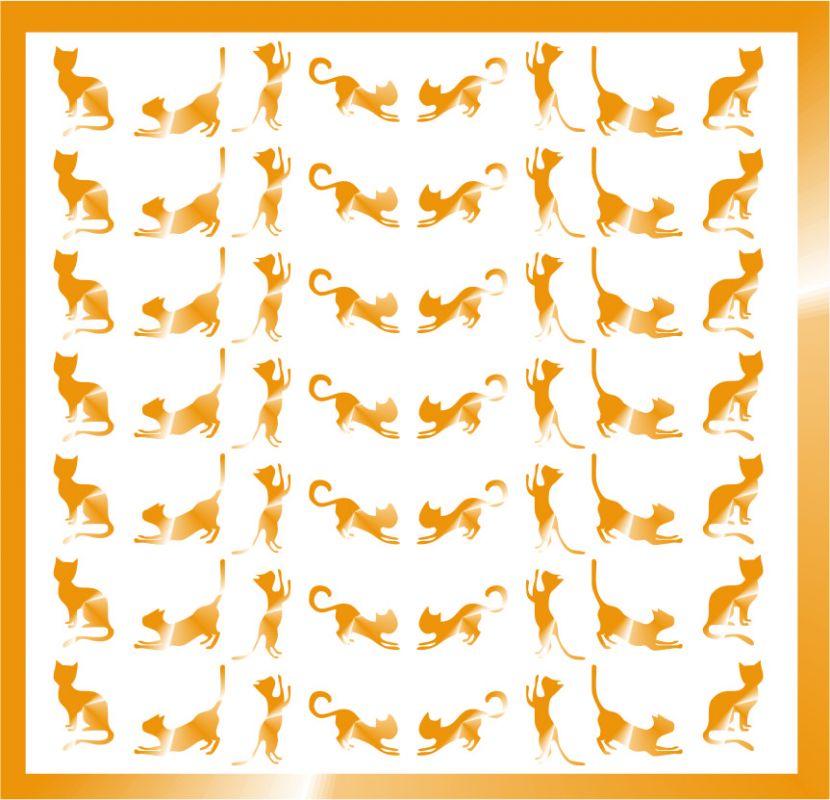 Samolepka pro nail art kočička 10 zlatá AKmedia