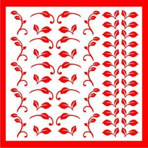 Samolepka pro nail art lístečky 2 červená