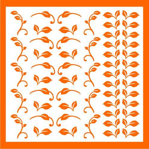Samolepka pro nail art lístečky 2 oranžová AKmedia