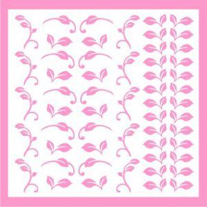 Samolepka pro nail art lístečky 2 růžová světlá