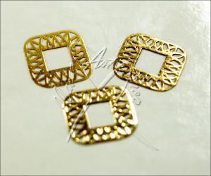 Zdobení kovové čtverec ornament 6 x 6 mm zlatá
