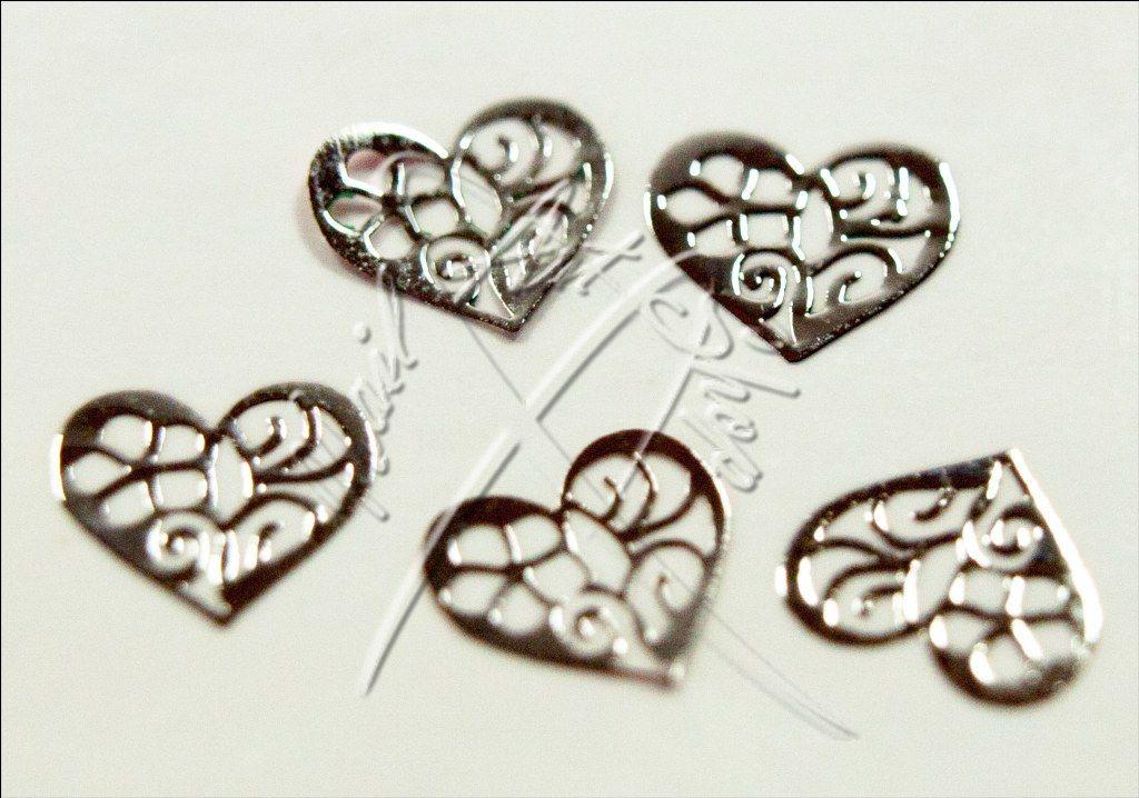 Zdobení kovové srdce ornament 5 x 5 mm stříbrná