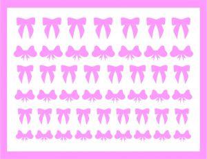 Samolepka pro nail art mašličky 2 růžová světlá