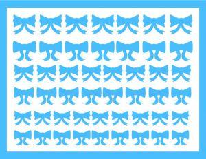 Samolepka pro nail art mašličky 6 modrá světlá