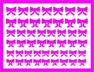 Samolepka pro nail art mašličky 6 růžová tmavá