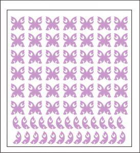 Samolepka pro nail art motýl 4 fialová světlá