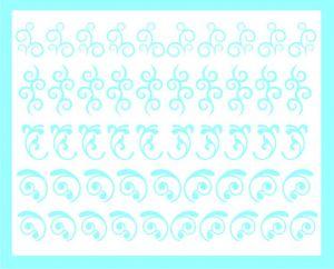 Samolepka pro nail art sada motivů 1 modrá světlá