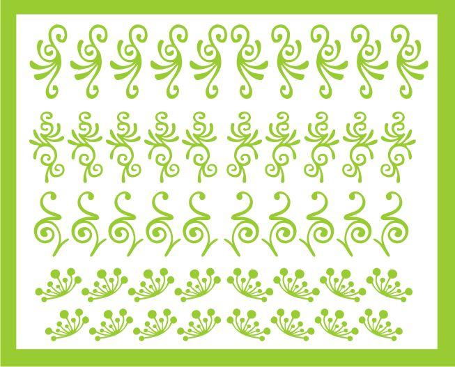Samolepka pro nail art sada motivů 2 zelená světlá AKmedia