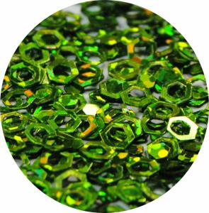 Šestihrany tmavé zelené s hologramem