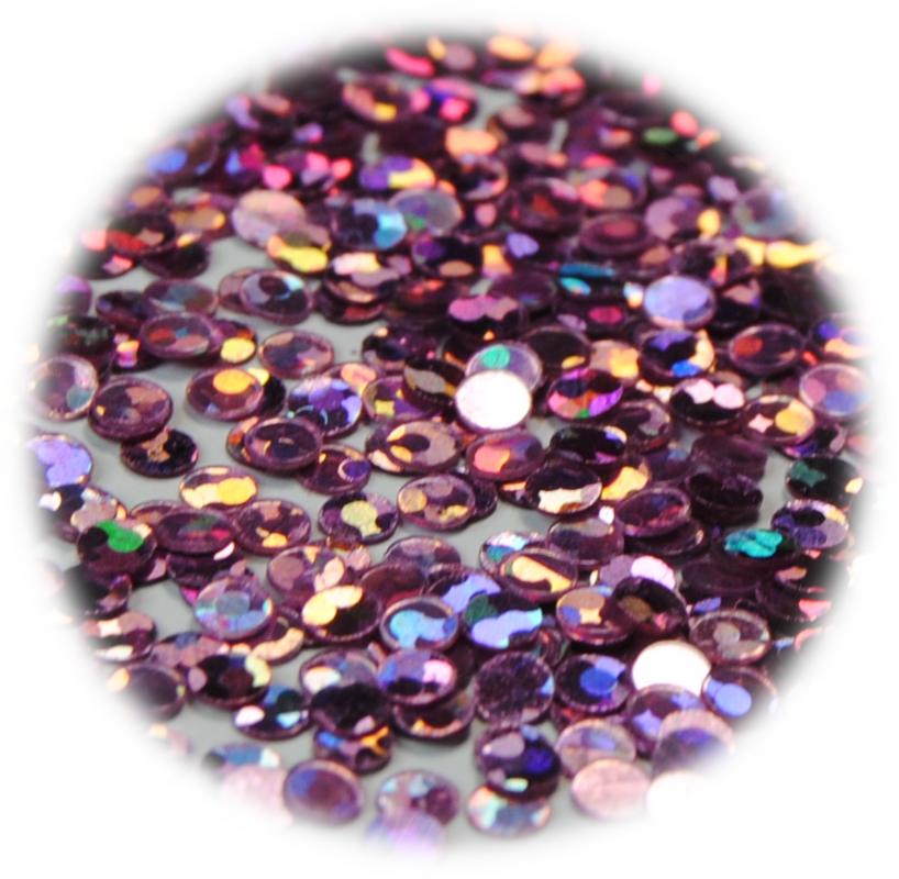 Kolečka mini ke zdobení nehtů fialová světlá s hologramem 3 mm