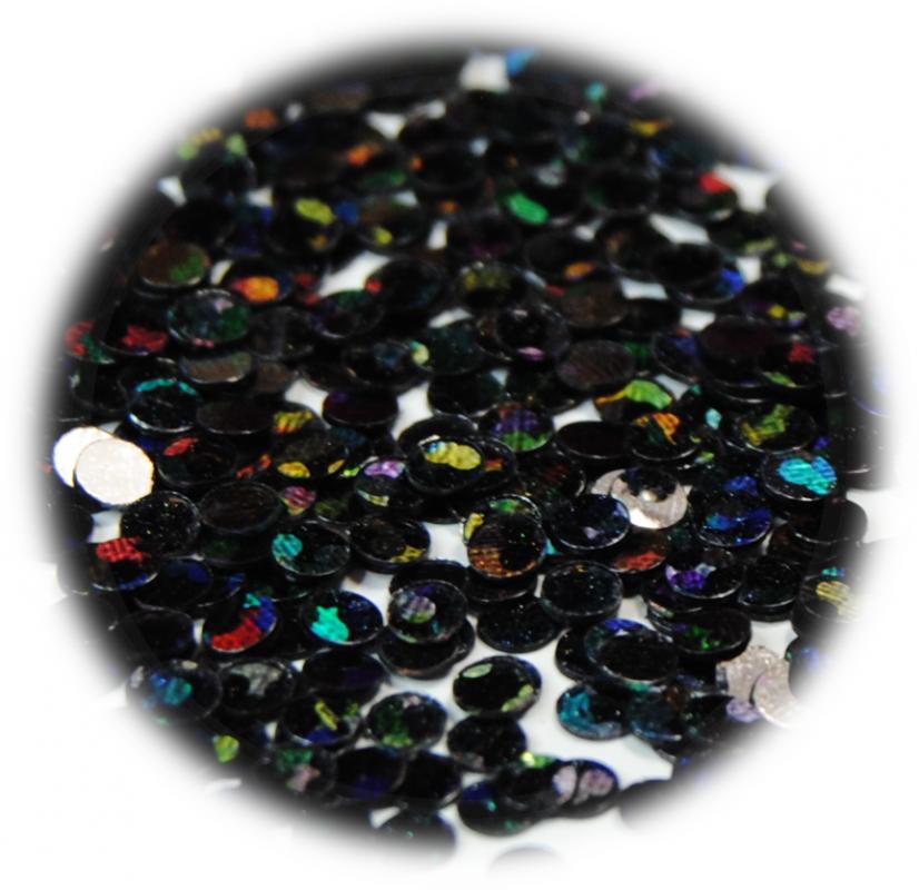 Kolečka mini ke zdobení nehtů černá s hologramem