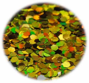 Šestiúhelníky mini zlatá s hologramem 3 mm